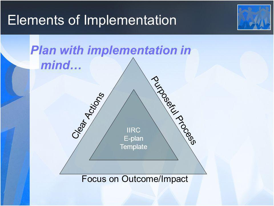 Elements of Implementation Plan with implementation in mind… Clear Actions Purposeful Process Focus on Outcome/Impact IIRC E-plan Template