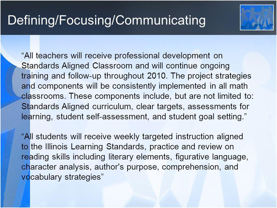 Defining/Focusing/Communicating All teachers will receive professional development on Standards Aligned Classroom and will continue ongoing training and follow-up throughout 2010.