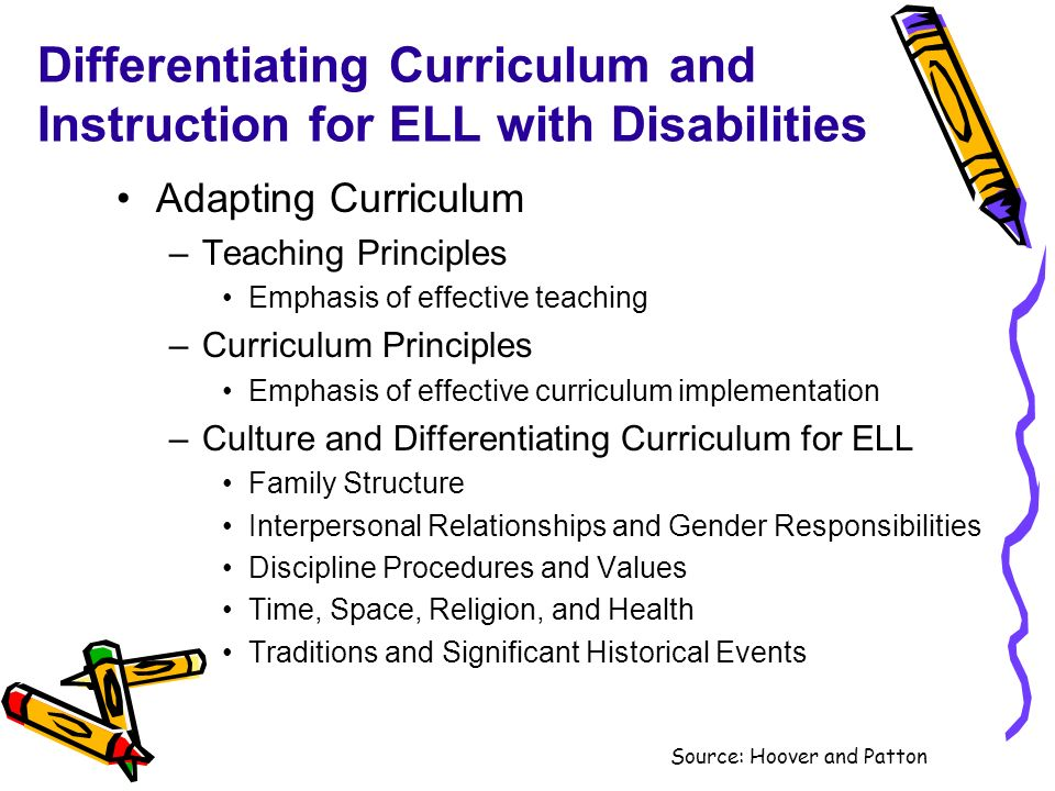 Differentiating Curriculum and Instruction for ELL with Disabilities Adapting Curriculum –Teaching Principles Emphasis of effective teaching –Curricul