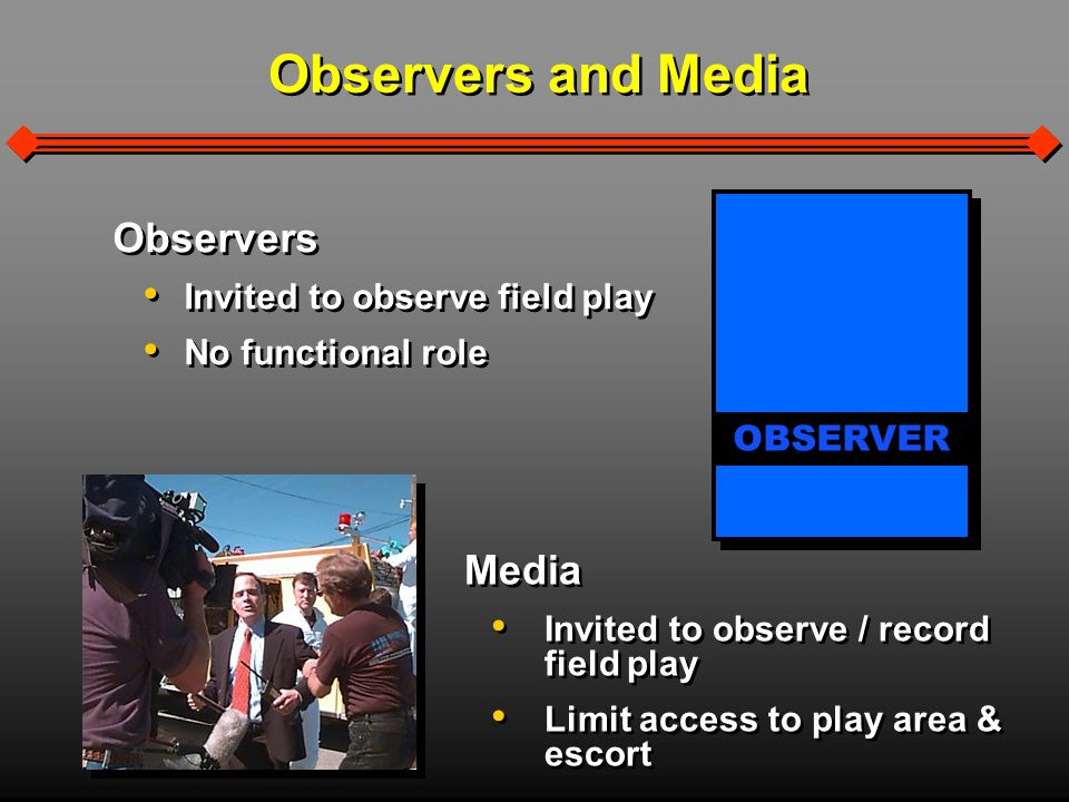 Observers and Media Media Invited to observe / record field play Limit access to play area & escort Media Invited to observe / record field play Limit access to play area & escort Observers Invited to observe field play No functional role Observers Invited to observe field play No functional role OBSERVER