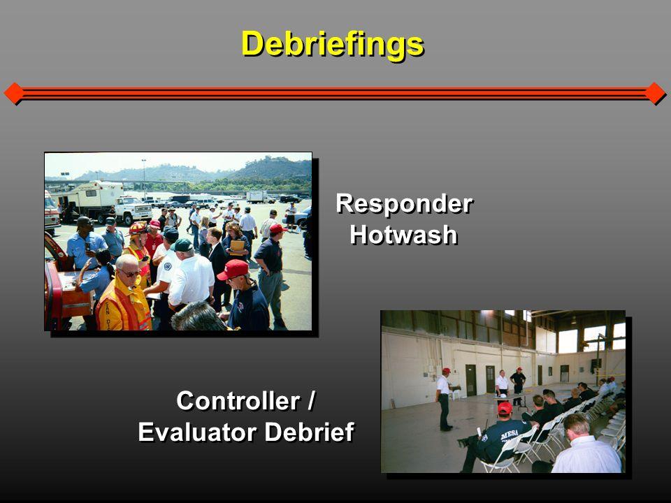 Debriefings Responder Hotwash Responder Hotwash Controller / Evaluator Debrief