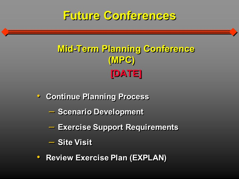 Mid-Term Planning Conference (MPC) [DATE] Continue Planning Process – Scenario Development – Exercise Support Requirements – Site Visit Review Exercise Plan (EXPLAN) Mid-Term Planning Conference (MPC) [DATE] Continue Planning Process – Scenario Development – Exercise Support Requirements – Site Visit Review Exercise Plan (EXPLAN) Future Conferences