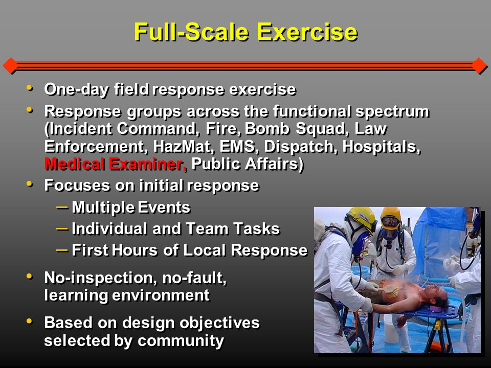 Notification and Response Establishment/Identification of Hazard Zones Personal Safety and Protection Initiation of Decontamination Procedures Agent Detection and Identification Notification and Response Establishment/Identification of Hazard Zones Personal Safety and Protection Initiation of Decontamination Procedures Agent Detection and Identification Target Areas Hazardous Materials (HazMat) Sample Evaluation Format Evaluation Aspects Properly Outfitted for Entry Proper Identification Equipment and Utilization Entry Team Rotation Utilization of Mutual Aid Resources Properly Outfitted for Entry Proper Identification Equipment and Utilization Entry Team Rotation Utilization of Mutual Aid Resources Sample Questions – Did the initial responding unit(s) recognize a HazMat situation and request proper assistance.
