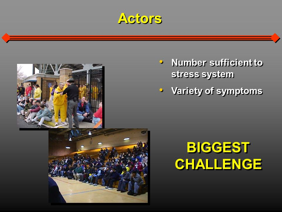 Actors Number sufficient to stress system Variety of symptoms Number sufficient to stress system Variety of symptoms BIGGEST CHALLENGE