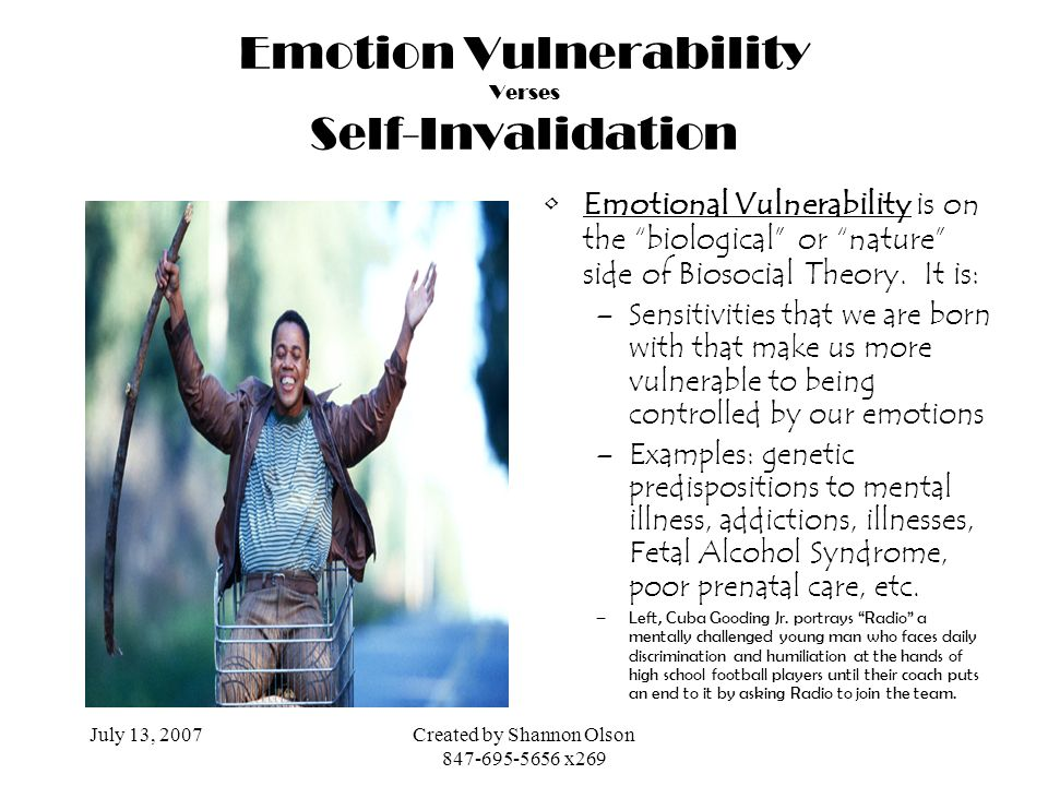 July 13, 2007Created by Shannon Olson 847-695-5656 x269 Emotion Vulnerability Verses Self-Invalidation Emotional Vulnerability is on the biological or
