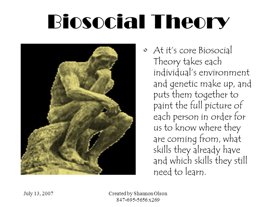 July 13, 2007Created by Shannon Olson 847-695-5656 x269 Biosocial Theory At its core Biosocial Theory takes each individuals environment and genetic m