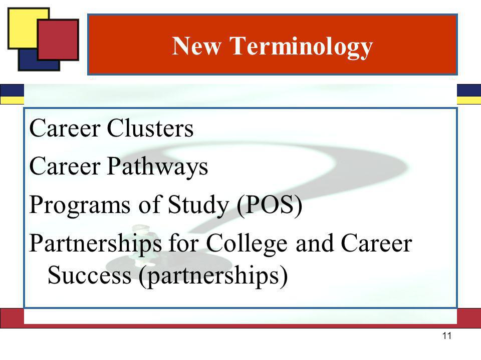 New Terminology Career Clusters Career Pathways Programs of Study (POS) Partnerships for College and Career Success (partnerships) 11