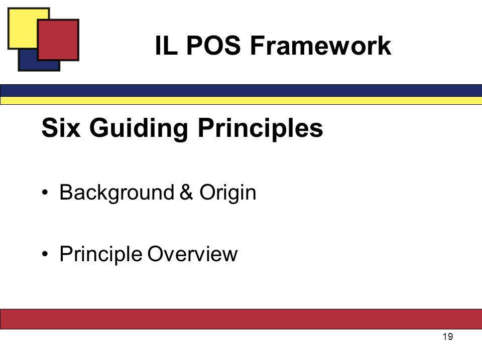 IL POS Framework Six Guiding Principles Background & Origin Principle Overview 19