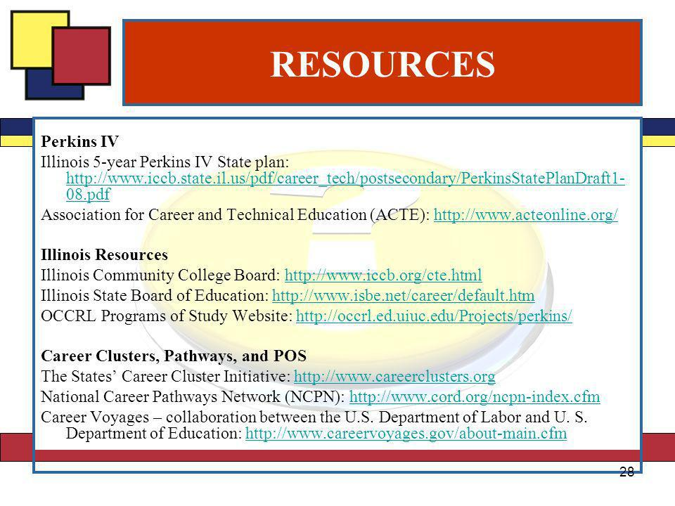 RESOURCES Perkins IV Illinois 5-year Perkins IV State plan: http://www.iccb.state.il.us/pdf/career_tech/postsecondary/PerkinsStatePlanDraft1- 08.pdf http://www.iccb.state.il.us/pdf/career_tech/postsecondary/PerkinsStatePlanDraft1- 08.pdf Association for Career and Technical Education (ACTE): http://www.acteonline.org/http://www.acteonline.org/ Illinois Resources Illinois Community College Board: http://www.iccb.org/cte.htmlhttp://www.iccb.org/cte.html Illinois State Board of Education: http://www.isbe.net/career/default.htmhttp://www.isbe.net/career/default.htm OCCRL Programs of Study Website: http://occrl.ed.uiuc.edu/Projects/perkins/http://occrl.ed.uiuc.edu/Projects/perkins/ Career Clusters, Pathways, and POS The States Career Cluster Initiative: http://www.careerclusters.orghttp://www.careerclusters.org National Career Pathways Network (NCPN): http://www.cord.org/ncpn-index.cfmhttp://www.cord.org/ncpn-index.cfm Career Voyages – collaboration between the U.S.