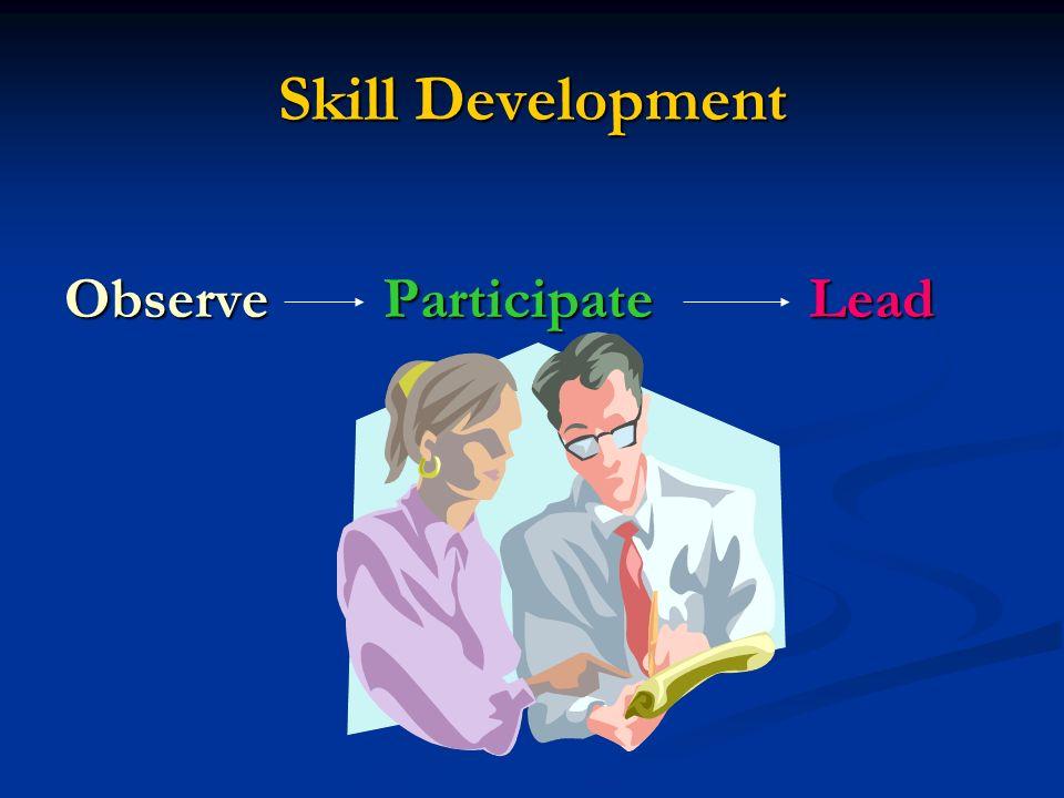 Skill Development ObserveParticipateLead