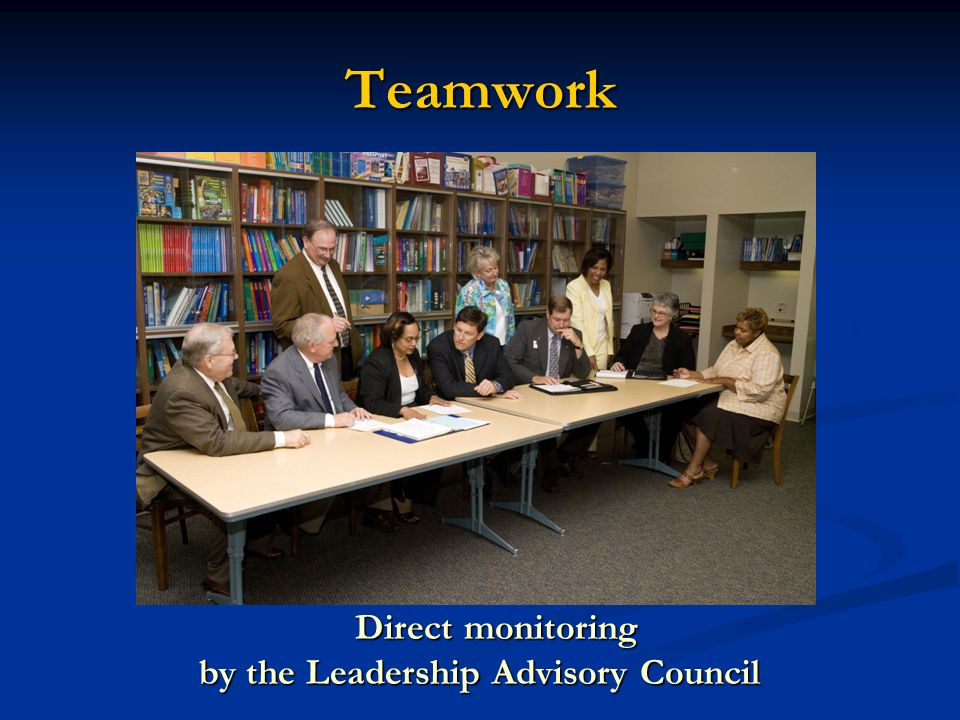 Teamwork Direct monitoring Direct monitoring by the Leadership Advisory Council