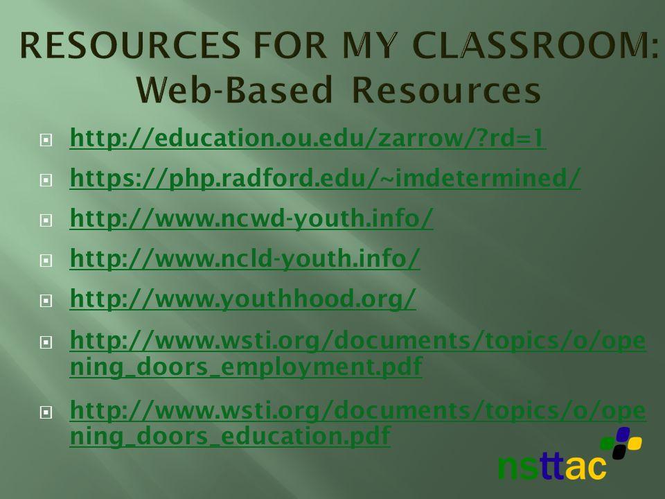 http://education.ou.edu/zarrow/?rd=1 https://php.radford.edu/~imdetermined/ http://www.ncwd-youth.info/ http://www.ncld-youth.info/ http://www.youthho