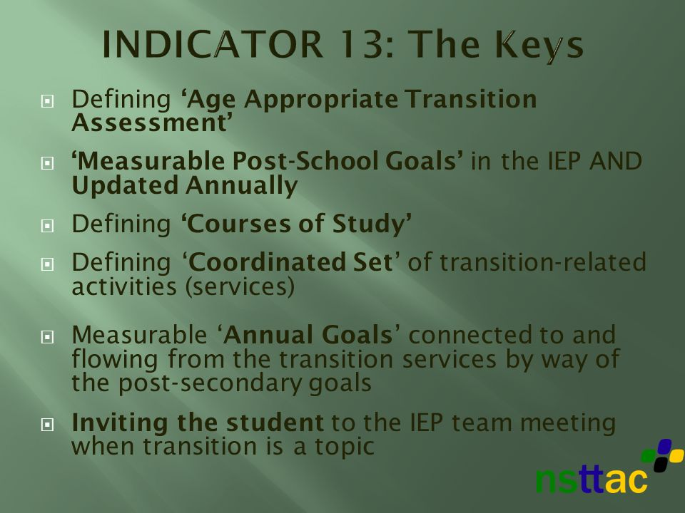 Defining Age Appropriate Transition Assessment Measurable Post-School Goals in the IEP AND Updated Annually Defining Courses of Study Defining Coordinated Set of transition-related activities (services) Measurable Annual Goals connected to and flowing from the transition services by way of the post-secondary goals Inviting the student to the IEP team meeting when transition is a topic