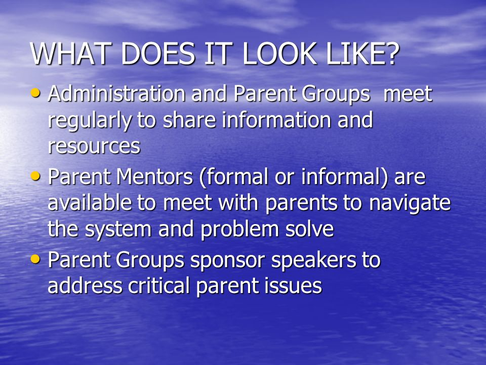 WHAT DOES IT LOOK LIKE? Administration and Parent Groups meet regularly to share information and resources Administration and Parent Groups meet regul