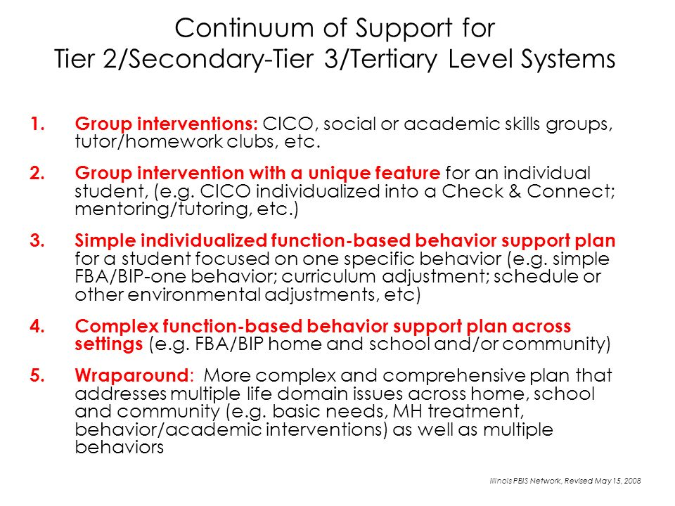 Continuum of Support for Tier 2/Secondary-Tier 3/Tertiary Level Systems 1.Group interventions: CICO, social or academic skills groups, tutor/homework clubs, etc.