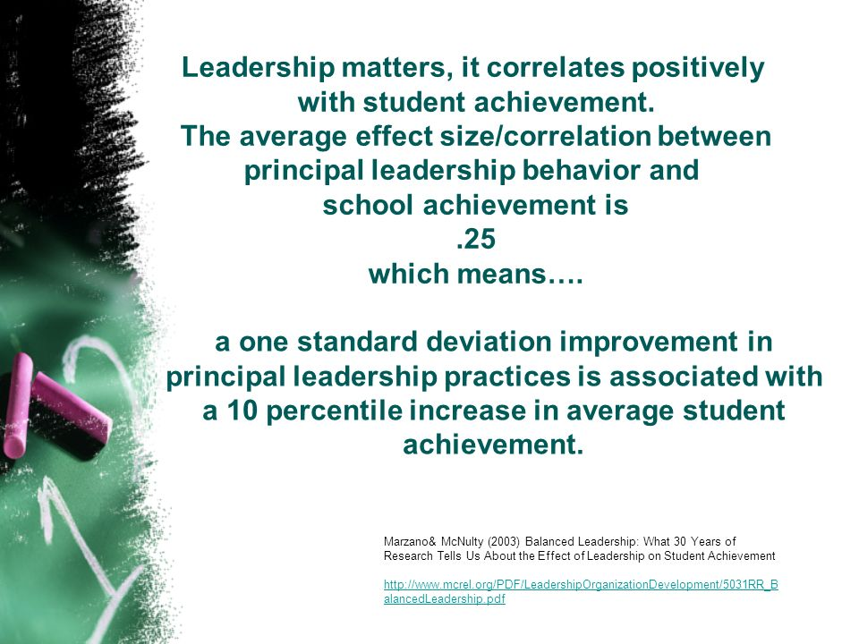 Leadership matters, it correlates positively with student achievement. The average effect size/correlation between principal leadership behavior and s