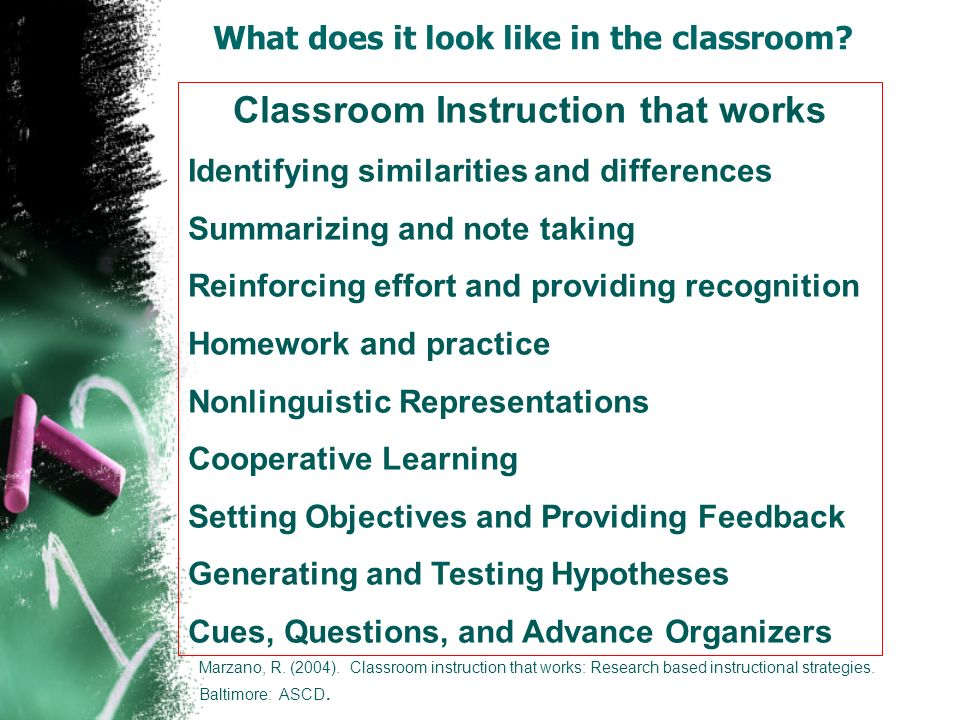 Classroom Instruction that works Identifying similarities and differences Summarizing and note taking Reinforcing effort and providing recognition Hom