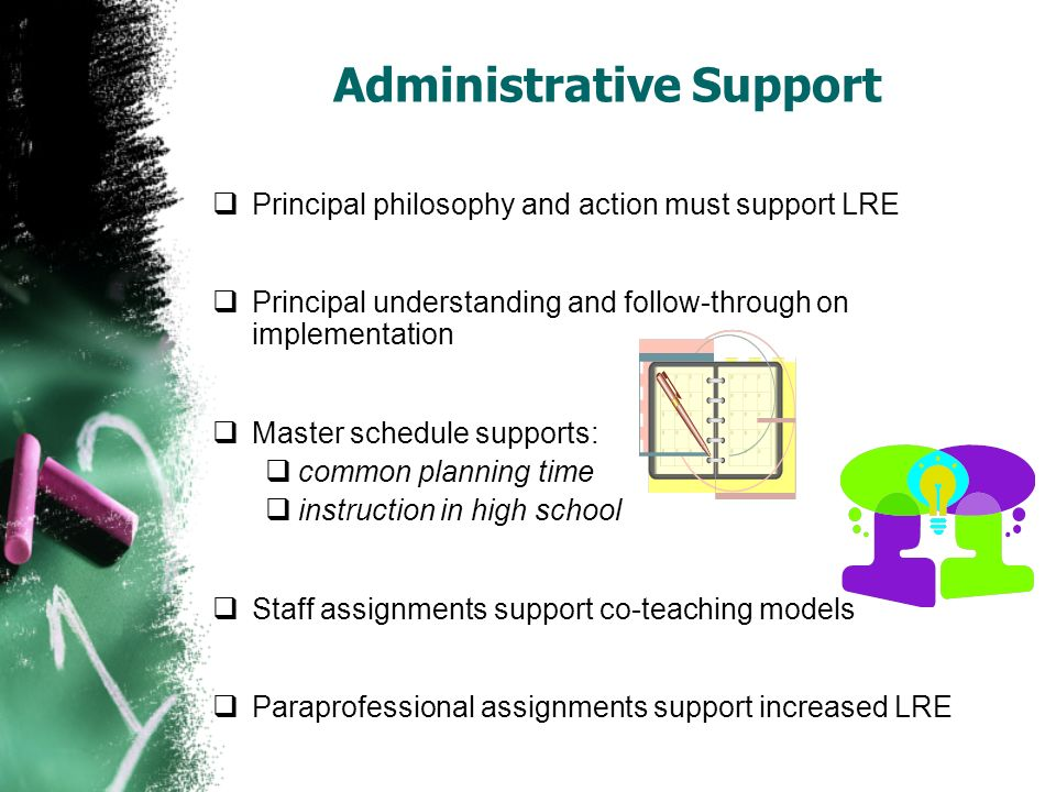 Administrative Support Principal philosophy and action must support LRE Principal understanding and follow-through on implementation Master schedule s