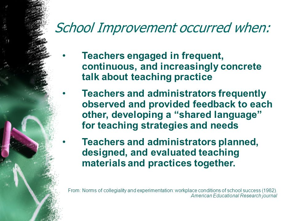 School Improvement occurred when: Teachers engaged in frequent, continuous, and increasingly concrete talk about teaching practice Teachers and admini