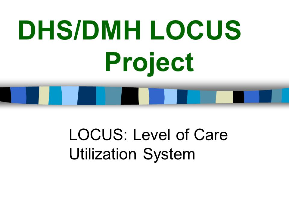DHS/DMH LOCUS Project LOCUS: Level of Care Utilization System