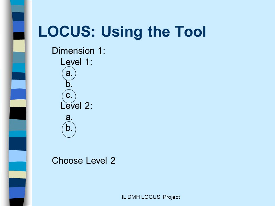 IL DMH LOCUS Project LOCUS: Using the Tool Dimension 1: Level 1: a.