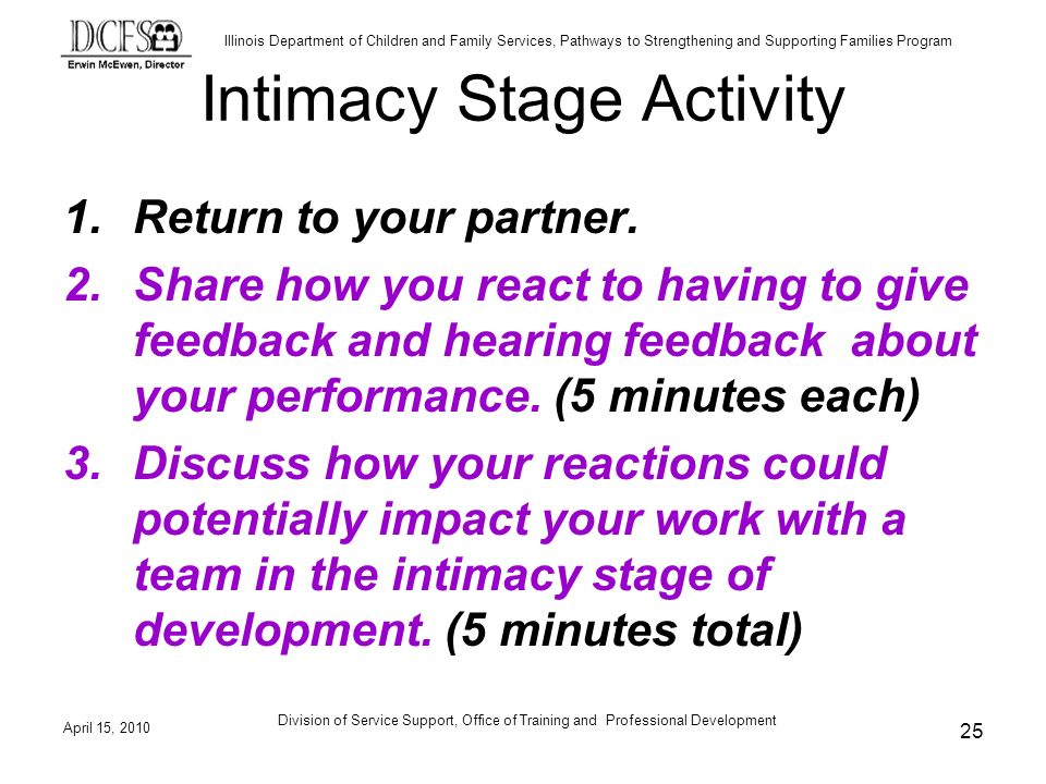 Illinois Department of Children and Family Services, Pathways to Strengthening and Supporting Families Program April 15, 2010 Division of Service Support, Office of Training and Professional Development 25 Intimacy Stage Activity 1.Return to your partner.