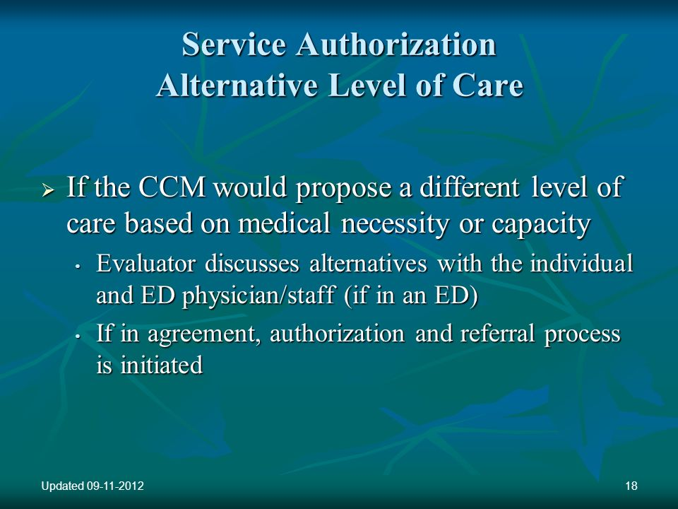 Service Authorization Alternative Level of Care If the CCM would propose a different level of care based on medical necessity or capacity If the CCM would propose a different level of care based on medical necessity or capacity Evaluator discusses alternatives with the individual and ED physician/staff (if in an ED) Evaluator discusses alternatives with the individual and ED physician/staff (if in an ED) If in agreement, authorization and referral process is initiated If in agreement, authorization and referral process is initiated Updated