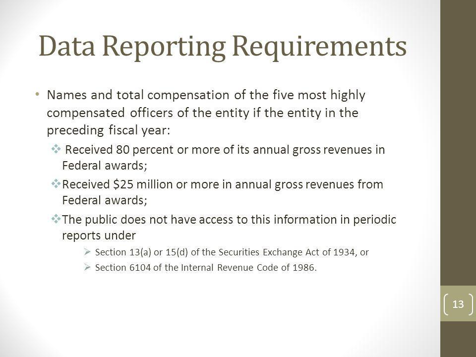 Data Reporting Requirements Names and total compensation of the five most highly compensated officers of the entity if the entity in the preceding fis