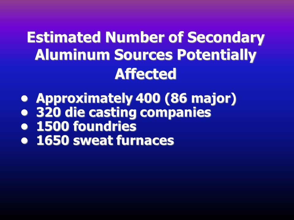 Estimated Number of Secondary Aluminum Sources Potentially Affected Approximately 400 (86 major) Approximately 400 (86 major) 320 die casting companie