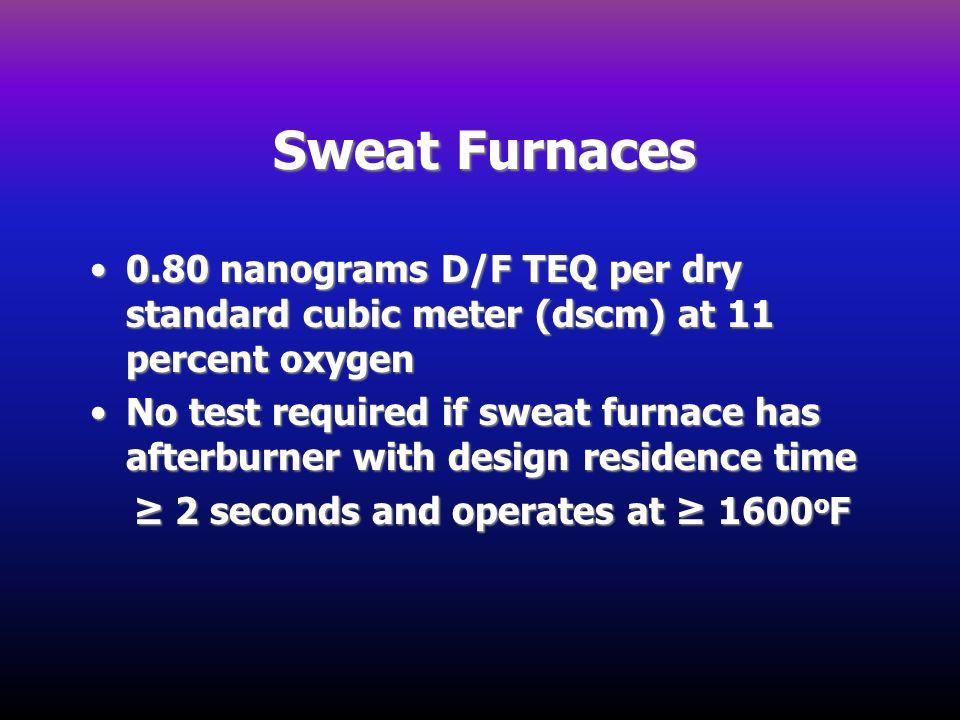 Sweat Furnaces 0.80 nanograms D/F TEQ per dry standard cubic meter (dscm) at 11 percent oxygen0.80 nanograms D/F TEQ per dry standard cubic meter (dsc