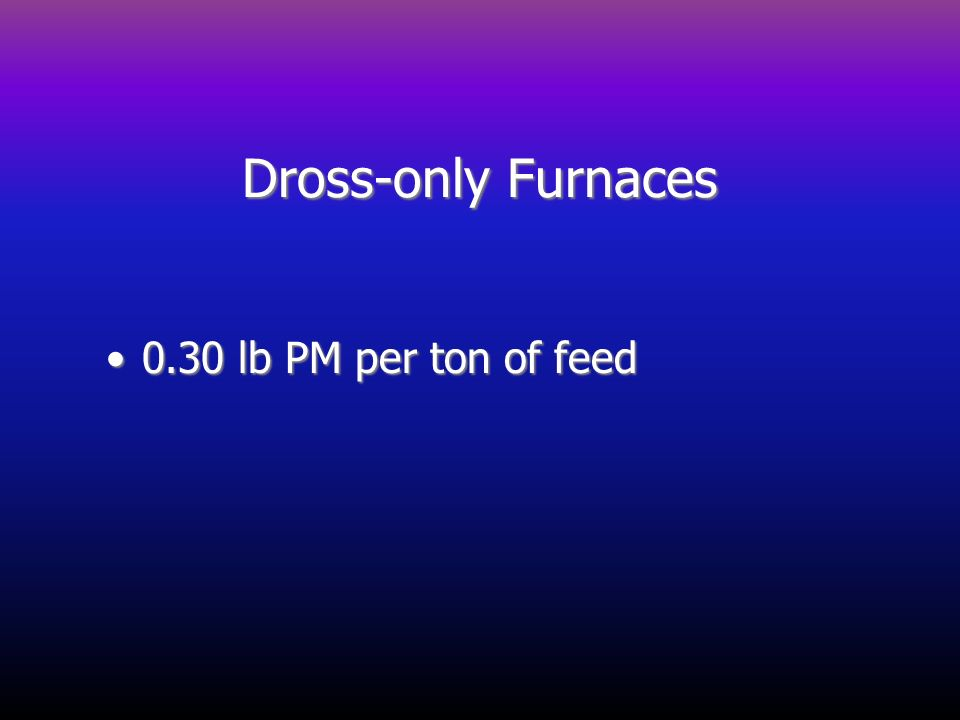 Dross-only Furnaces 0.30 lb PM per ton of feed0.30 lb PM per ton of feed