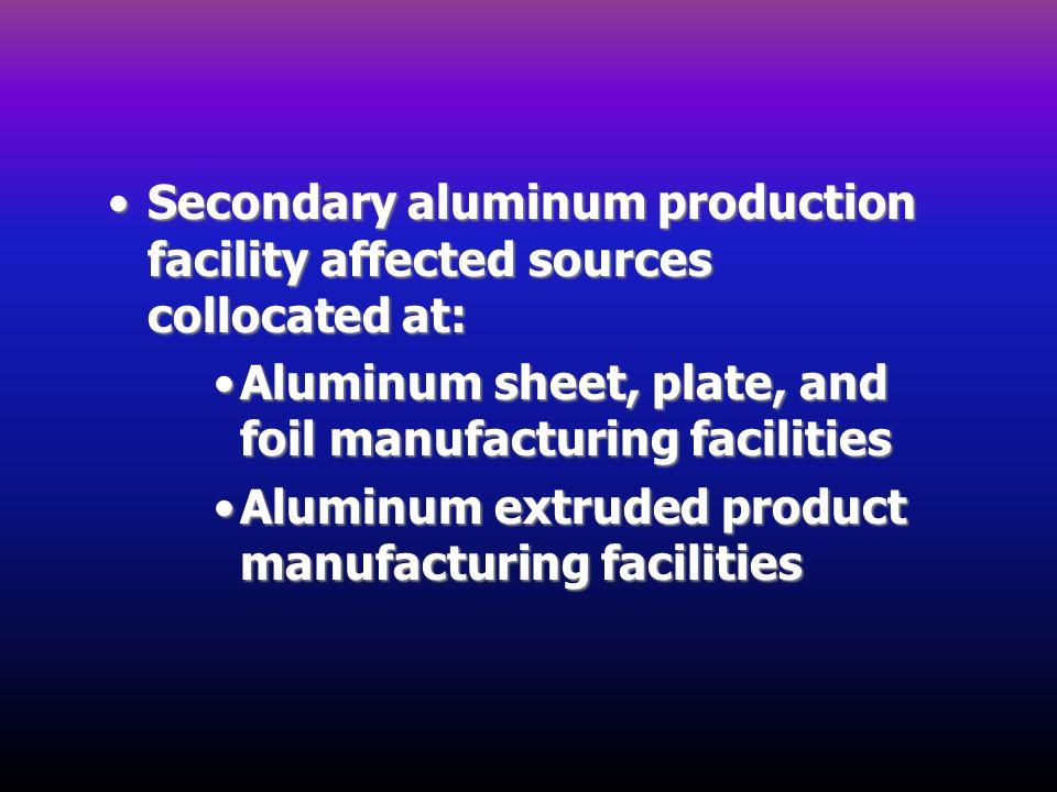 Secondary aluminum production facility affected sources collocated at:Secondary aluminum production facility affected sources collocated at: Aluminum