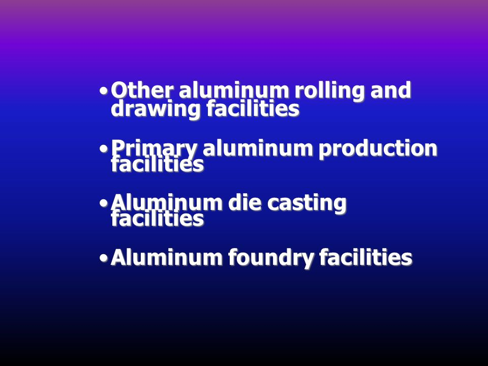 Other aluminum rolling and drawing facilitiesOther aluminum rolling and drawing facilities Primary aluminum production facilitiesPrimary aluminum prod