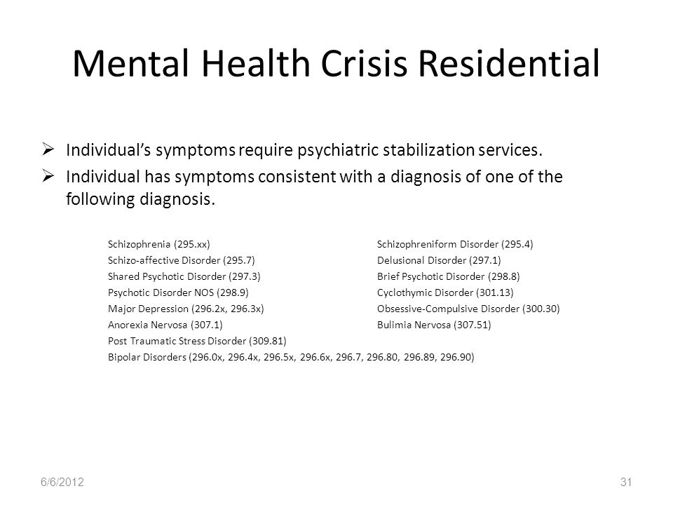 Mental Health Crisis Residential Individuals symptoms require psychiatric stabilization services. Individual has symptoms consistent with a diagnosis