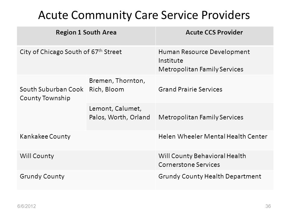 Acute Community Care Service Providers Region 1 South AreaAcute CCS Provider City of Chicago South of 67 th StreetHuman Resource Development Institute