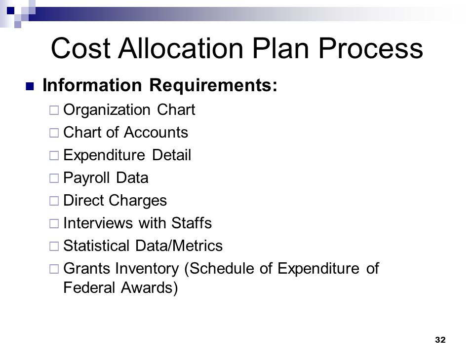 32 Cost Allocation Plan Process Information Requirements: Organization Chart Chart of Accounts Expenditure Detail Payroll Data Direct Charges Intervie
