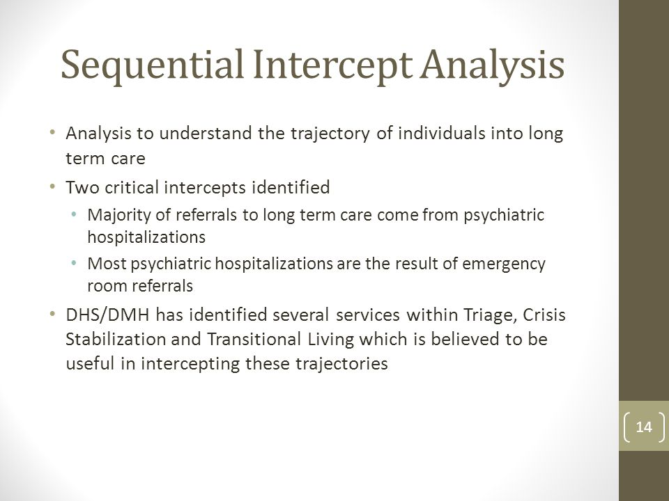 Sequential Intercept Analysis Analysis to understand the trajectory of individuals into long term care Two critical intercepts identified Majority of referrals to long term care come from psychiatric hospitalizations Most psychiatric hospitalizations are the result of emergency room referrals DHS/DMH has identified several services within Triage, Crisis Stabilization and Transitional Living which is believed to be useful in intercepting these trajectories 14