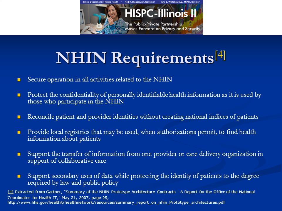 NHIN Requirements [4] Secure operation in all activities related to the NHIN Protect the confidentiality of personally identifiable health information as it is used by those who participate in the NHIN Reconcile patient and provider identities without creating national indices of patients Provide local registries that may be used, when authorizations permit, to find health information about patients Support the transfer of information from one provider or care delivery organization in support of collaborative care Support secondary uses of data while protecting the identity of patients to the degree required by law and public policy [4][4] Extracted from Gartner, Summary of the NHIN Prototype Architecture Contracts - A Report for the Office of the National Coordinator for Health IT, May 31, 2007, page 25, http://www.hhs.gov/healthit/healthnetwork/resources/summary_report_on_nhin_Prototype_architectures.pdf