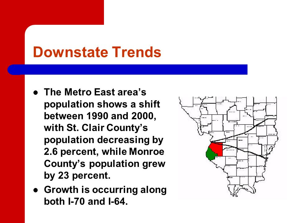 Downstate Trends The Metro East areas population shows a shift between 1990 and 2000, with St.