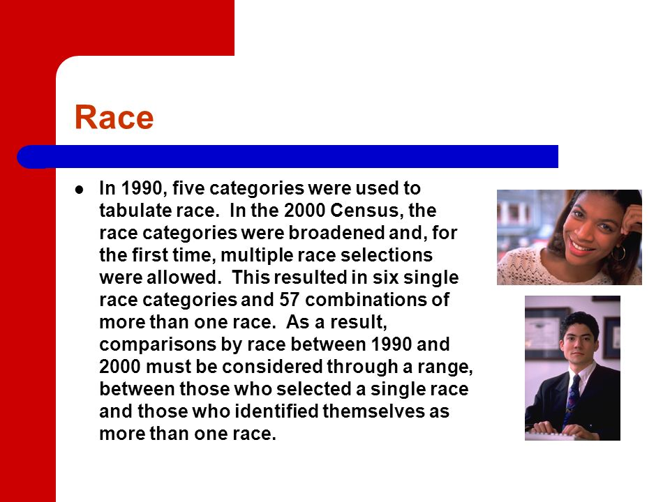Race In 1990, five categories were used to tabulate race.