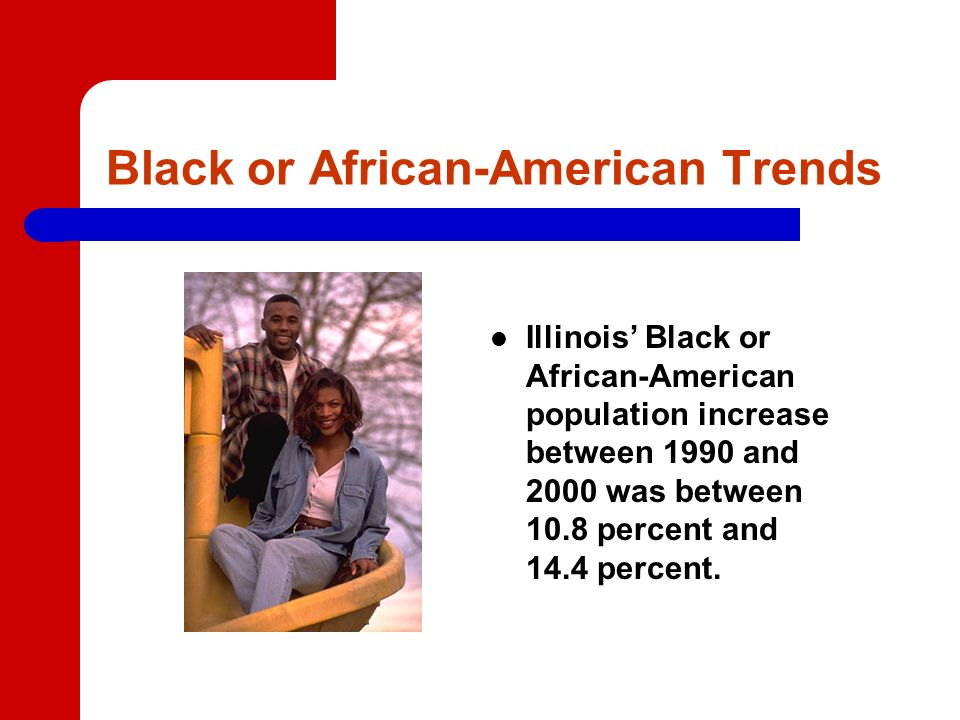 Black or African-American Trends Illinois Black or African-American population increase between 1990 and 2000 was between 10.8 percent and 14.4 percent.