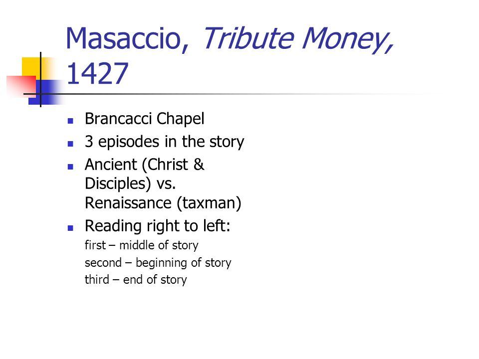 Masaccio, Tribute Money, 1427 Brancacci Chapel 3 episodes in the story Ancient (Christ & Disciples) vs.