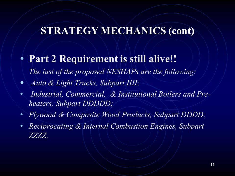 10 STRATEGY MECHANOCS (cont) II.