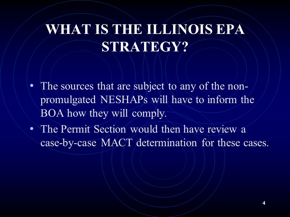 3 BACKGROUND (cont) There are (4) NESHAP (Illinois effected sources) yet to be promulgated by USEPA. These (4) have been proposed in the Federal Regis