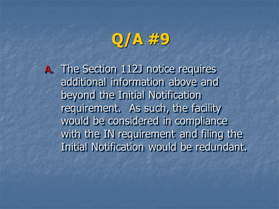 Q/A #9 A.