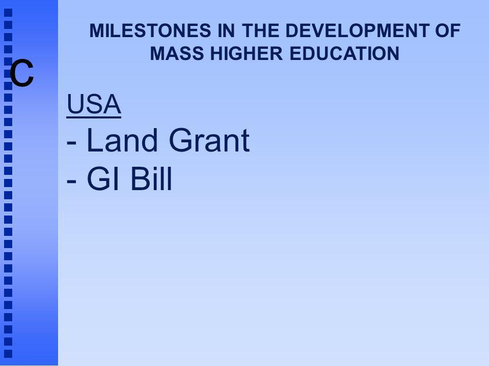 c MILESTONES IN THE DEVELOPMENT OF MASS HIGHER EDUCATION USA - Land Grant - GI Bill