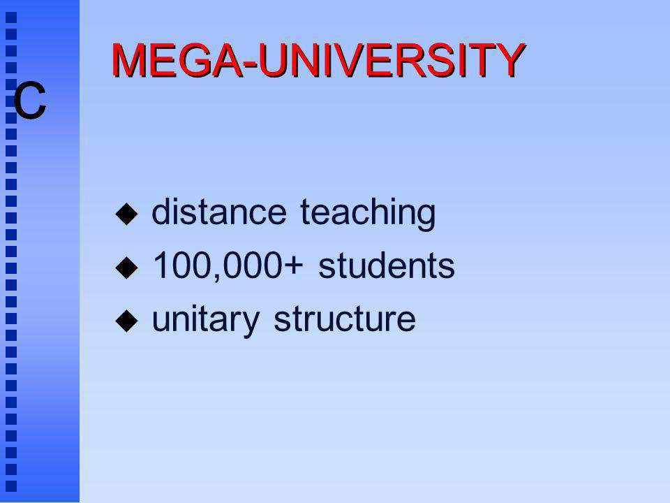 c MEGA-UNIVERSITY u distance teaching u 100,000+ students u unitary structure