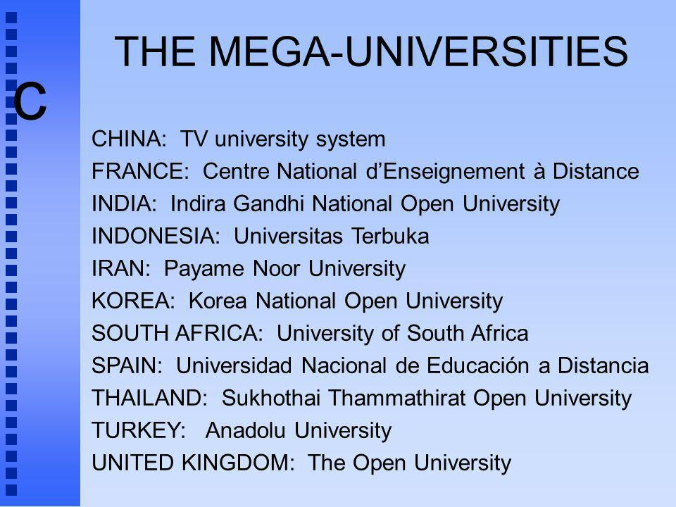 c THE MEGA-UNIVERSITIES CHINA: TV university system FRANCE: Centre National dEnseignement à Distance INDIA: Indira Gandhi National Open University INDONESIA: Universitas Terbuka IRAN: Payame Noor University KOREA: Korea National Open University SOUTH AFRICA: University of South Africa SPAIN: Universidad Nacional de Educación a Distancia THAILAND: Sukhothai Thammathirat Open University TURKEY: Anadolu University UNITED KINGDOM: The Open University