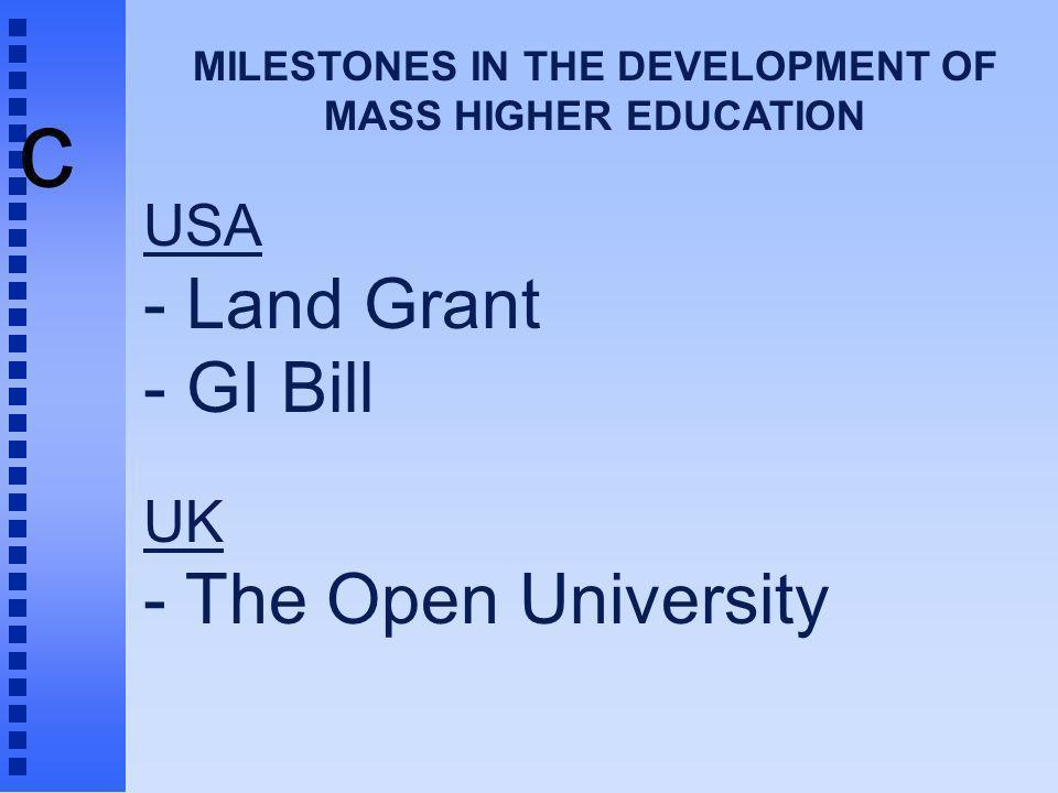 c MILESTONES IN THE DEVELOPMENT OF MASS HIGHER EDUCATION USA - Land Grant - GI Bill UK - The Open University
