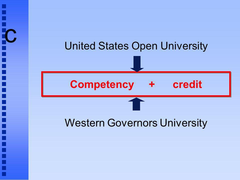 c United States Open University Competency + credit Western Governors University